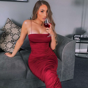 Image 3 - NewAsia Double Layers Sexy Summer Dress 2019 Pink Women Night Dresses Tight Long Party Bodycon Dress Vintage Ruched Midi Dress