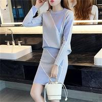 Knitted suit skirt female New autumn Korean fashion temperament ladies casual ice silk two piece suits women