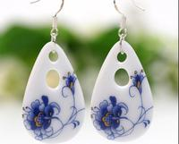 Porcelain Jewelry Earrings Original Handmade Folk Style Of Blue And White Porcelain Blue Butterfly Flower Jewelry