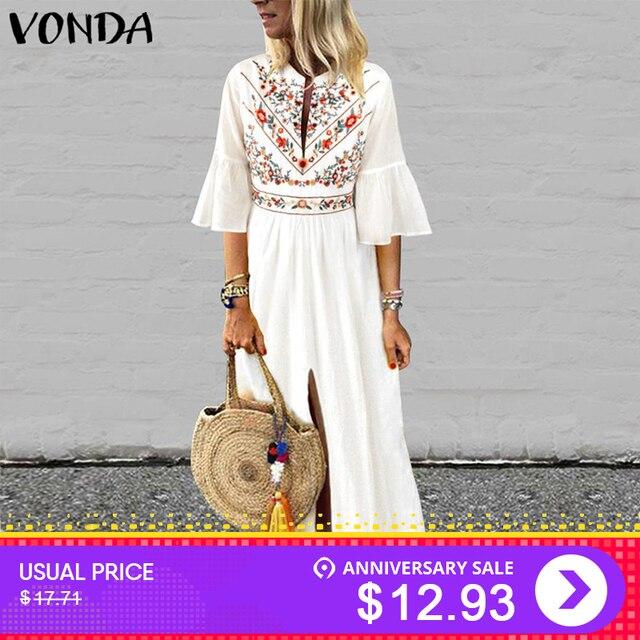 074c2a7bdf89 VONDA Boho Women Printd Dress 2019 Sexy V Neck Ruffle Sleeve Split Maxi  Dresses Holiday Casual