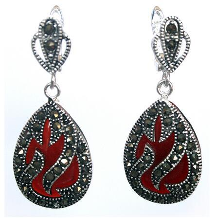 """100% Brand New High Quality  11/2 """"Genuine 925 Silver and Marcassite Inlay Red Coral Waterdrop Earrings"""
