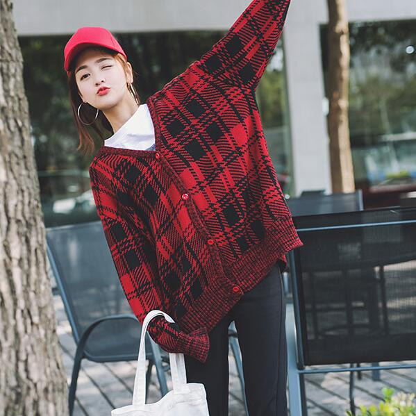 Burgundy Check Medium Long Cardigans Sweater Fashion Women Plus Size Outwear Full Sleeve With Pockets Winter Warm Sweater Coat