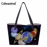 Coloranimal Women Casual PU Bags Planet Pattern Women Tote Shoulder Bags Shopping Bag Hand Leather Bag Bolsa Feminino Mujer 2018