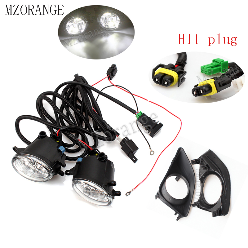 Mzorange Led Fog Light   Wire Harness Grille Cover For Toyota Avensis Auris Rav 4 Iii Camry For