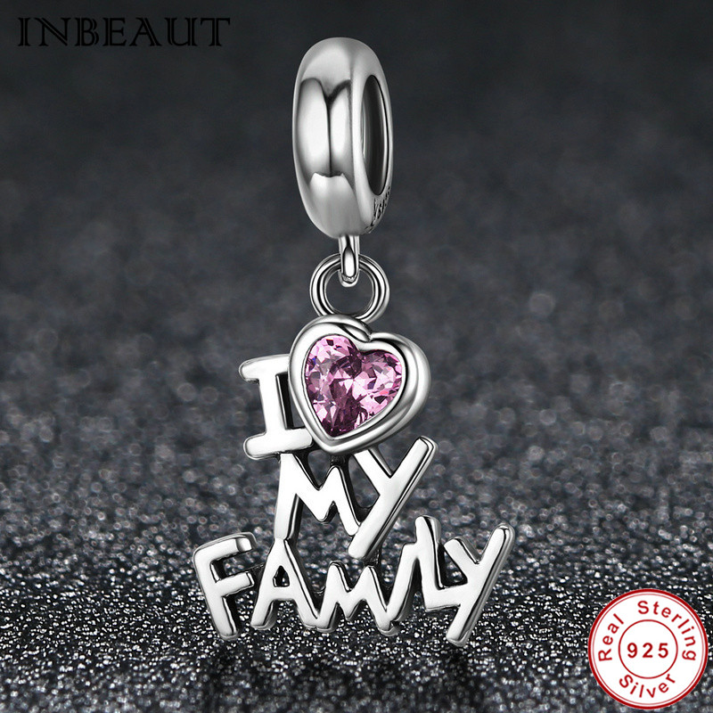 INBEAUT New Trendy 925 Sterling Silver I Love My Family Chain Necklace Pendant for Women Alphabet Charm fit Pandora Bracelet
