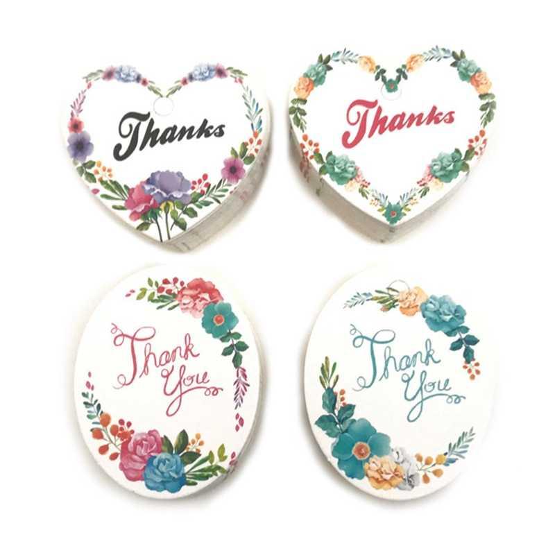 50 unidades/pacote DIY Etiquetas de Papel de Presente de Coração Forma Oval Tag obrigado Etiqueta de Preço Etiqueta de Papel da Festa de Casamento Tag Do Cair pendurar Cartões Tag