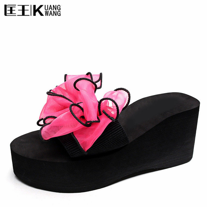 Women's sandals platform Flowers Flip Flops Female summer Shoes Flats Casual shoes Woman Creepers Slippers Wedges Sandals lanshulan bling glitters slippers 2017 summer flip flops shoes woman creepers platform slip on flats casual wedges gold