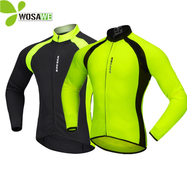 WOSAWE Autumn Cycling Jerseys Men Bicycle Sportswear Breathable Cycle Downhill MTB Reflective Long Sleeve Clothing Bike Shirts
