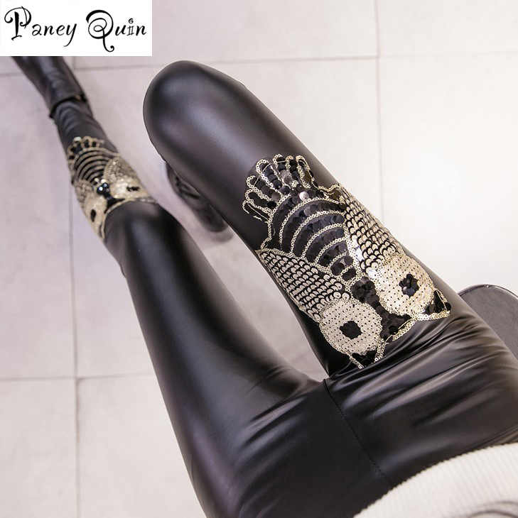 Donne PU In Pelle Nera Pantaloni Legging Velluto Spessore Caldo Paillette owl Leggings Sottile Spinta Sexy Up Leggings Pantaloni a Sigaretta Donna