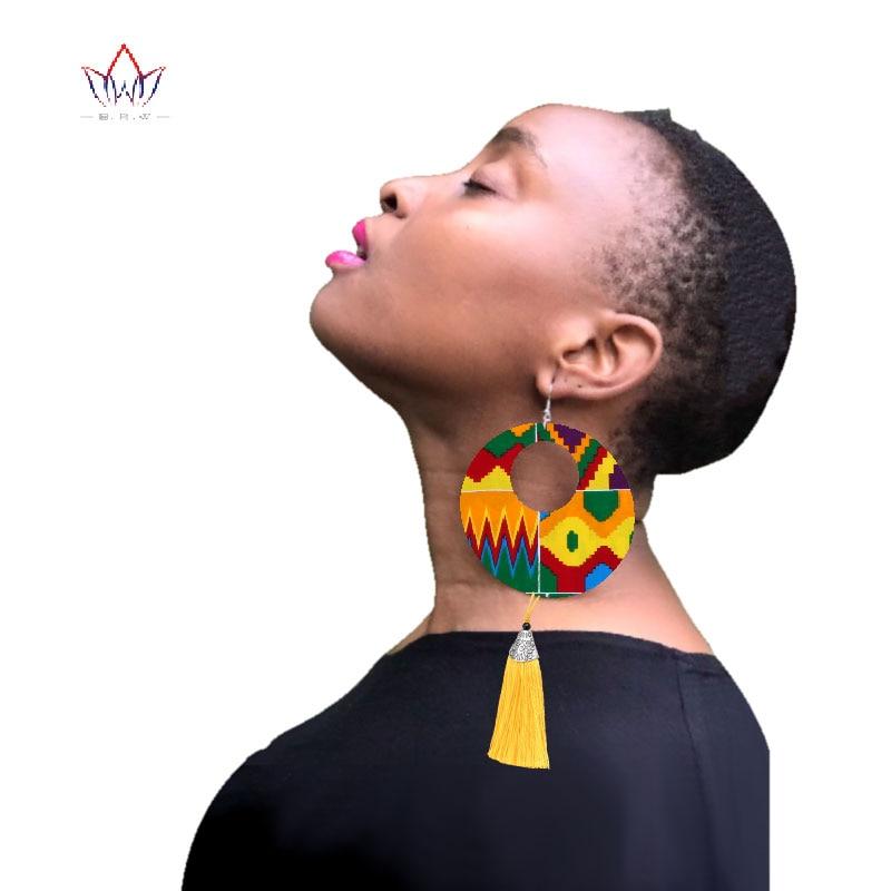 2019 African Cloth Fabric Earrings Handmade Earrings With Tassels For Women African Print Ankara Big Oversized Earrings SP032