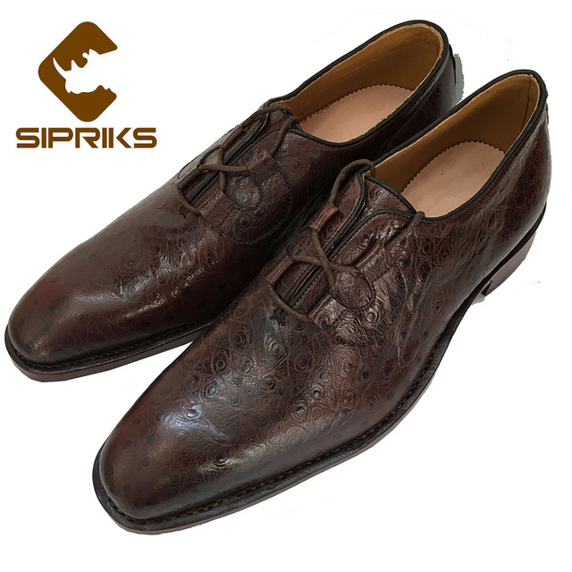 SIPRIKS mens dark brown genuine leather shoes italian handmade Goodyear  welted shoes ostrich style boss business office shoes 560ecae0484e