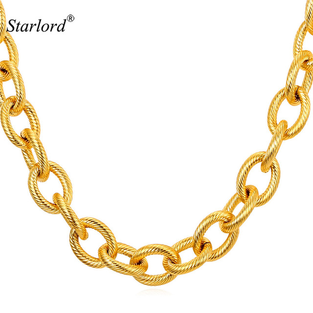 Starlord Kpop Big Chunky Necklace Mens Gold Chain Black Gun/Gold Color Stainless Steel Chain Men Jewelry GN2151