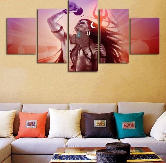 Lord Shiva The Universe Indian Religion Painting Canvas Wall Art ...