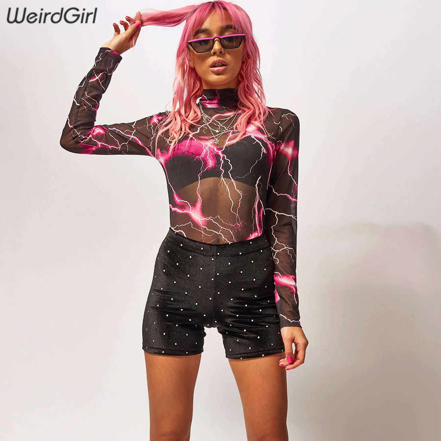 Weirdgirl Mujer Transparente bodysuits sexy malla cuello alto manga completa Mujer Pantalones delgados fiesta noche club verano nuevo