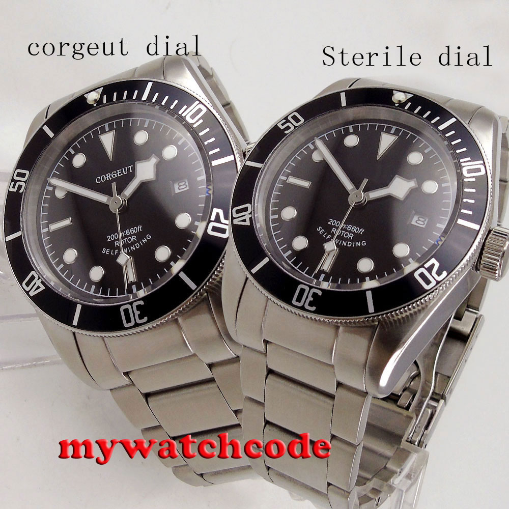 41mm corgeut dial sterile dial miyota 8215 movement date window stainless steel strap Sapphire Glass automatic mens Watch C93 41mm corgeut black dial sapphire glass miyota automatic movement mens watch c03