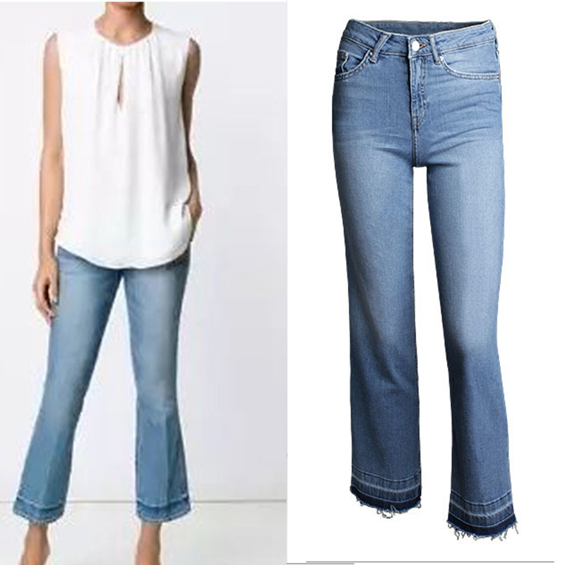 2017 New Fashion Clothes Women Ankle-length Pants Mid Waist Washed Vintage Cowboy Trousers Female Cotton Denim Flare Pants Jeans spring new fashion cotton jeans women loose high waist washed vintage big hole ripped ankle length denim straight pants mz1535
