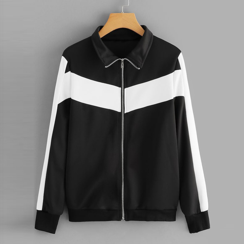 Korean Style New Spring 2019 Ladies Zipper   Jacket   Contrast Color Loose Casual Women Clothing Coats and Outwear   Basic     Jackets   SML
