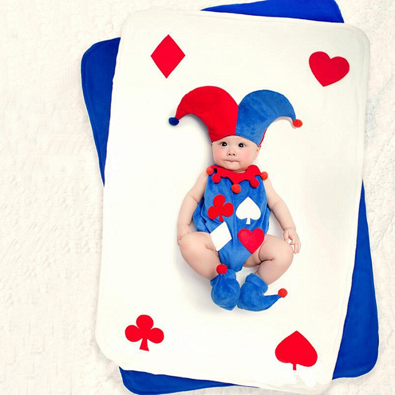 3-6M Infant Boy Girl Cute Clown Photography Hat+Romper Props Tiny Baby Family Photo Shoot Outfits Baby fotografia Props Clothes