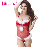 Miersid free shipping women Christmas gift sexy lingerie set red halloween costumes for women Push up bra set