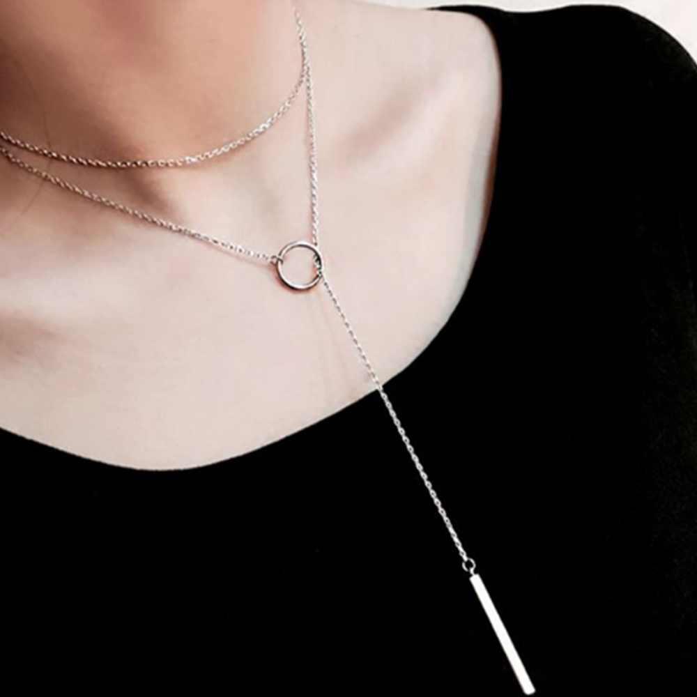 1 pc Simple สไตล์คลาสสิกอุปกรณ์เสริม Silver สีวงกลมยาว Chain สร้อยคอจี้สำหรับผู้หญิง