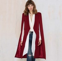 Cloak Cape Long Blazer Women Black Khaki Red White Blue Pink Lapel Split Long Sleeve Jacket