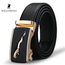 WilliamPOLO Mens Belt Luxury Male Metal Automatic Buckle Genuine Leather Fashion Cowskin PL18268-70P