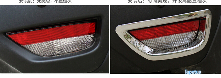 High Quality ! Car Body ABS Chrome Cover Trim Back Tail Rear Fog Light Lamp Frame Stick Part For Renault Captur 2014 2015 2016