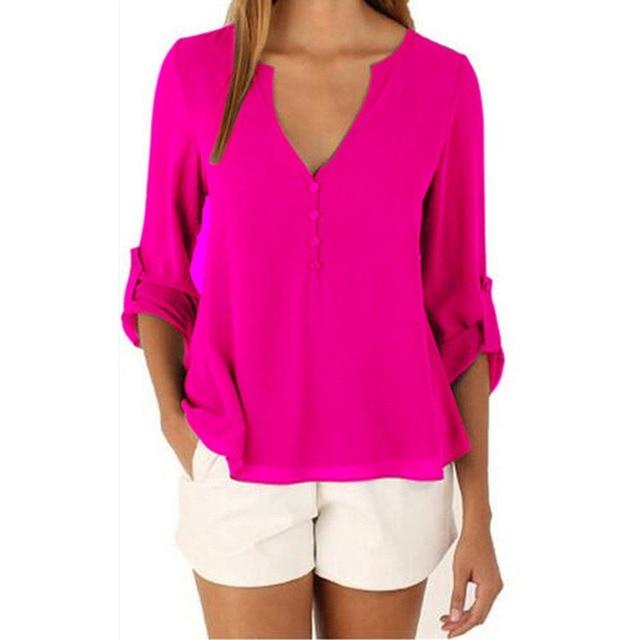 040a1e35d Marca de moda Camisa Blusa Pescoço V Sexy Plus Size Roupas Baratas China Mulheres  Roupas de