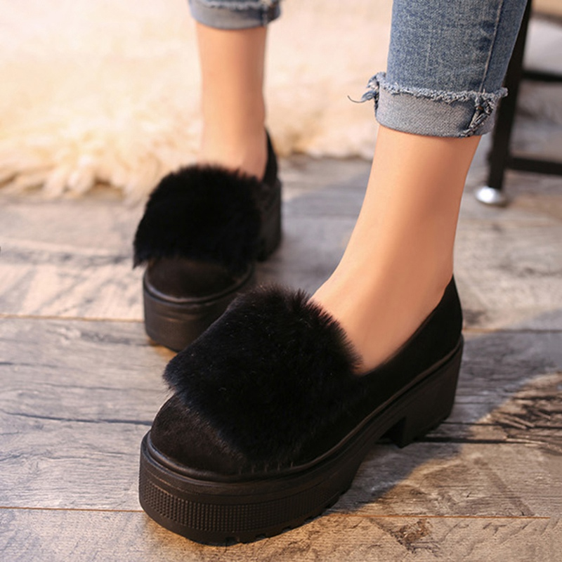 5cfc984efcc Good Quality Women Platform Shoes Antiskid Square Heel Shoes Comfortable  Slip On Ladies Loafers Gray Black-in Women s Flats from Shoes