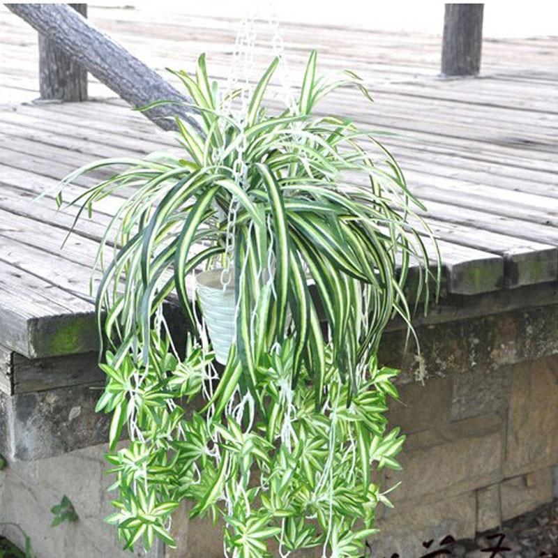 3 Heads Artificial Flower Bracketplant Chlorophytum Orchids Rattan Wall Hanging Silk Flower Artificial Plant Home Shop Decor