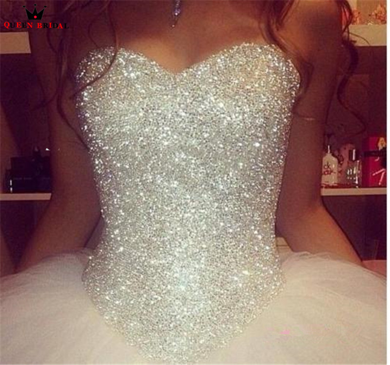 Vintage Wedding Dresses Ball Gown Sweetheart Fluffy Crystal Beading Sequins Romantic Wedding Gown Bridal Dress Custom
