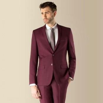 2017 Best Selling Brand Groomsmenn Notch Lapel Groom Tuxedos Burgundy Mens Suits Wedding Formal (Jacket+Pants+Tie) B784