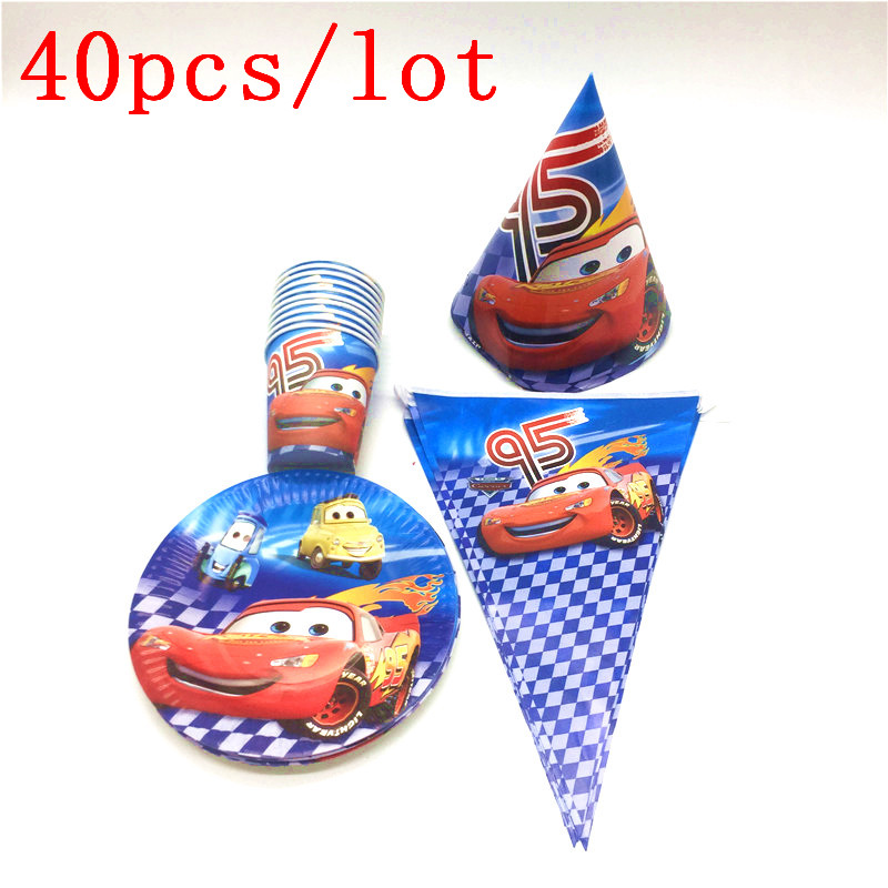 Hot Sales Disney Cars Theme Print Lightning McQueen 40Pcs/Lot Cups+Plates+Flags Children Birthday Party Decoration Supplies