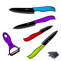 High Grade Ceramic Knife Set 3 4 5 6 Handmade Kitchen Knife With Black Blade 4