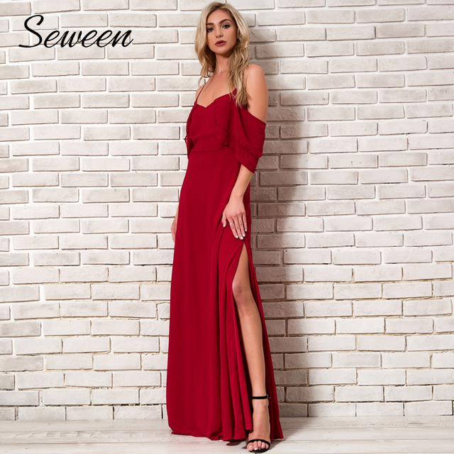 4ee262381ff Holiday Beach Dress Women 2018 Summer New Arrivals Chiffon Cold Shoulder  Dress Ladies Ruffle Red Party Maxi Dress Long With Open