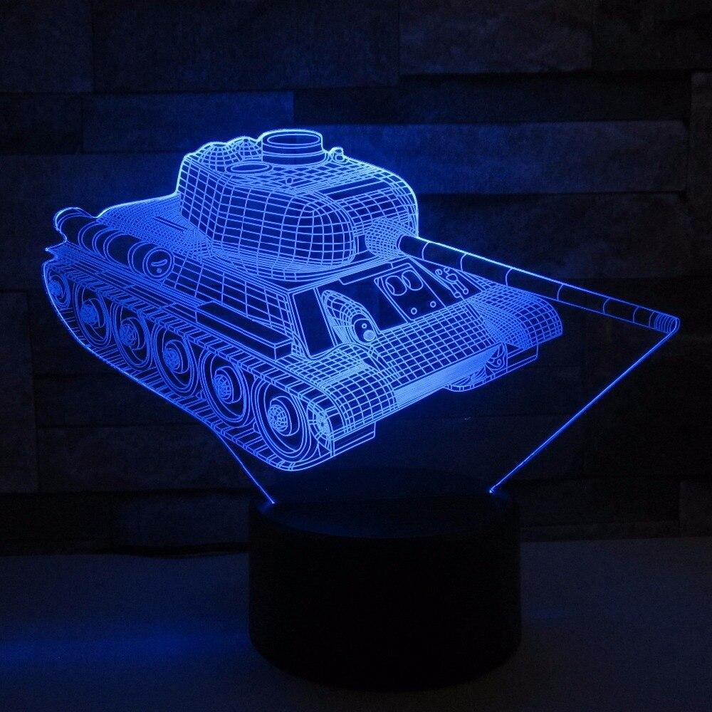Kühle Tanks 3d Nacht Licht Touch-schalter 7 Farbwechsel LED Tisch ...