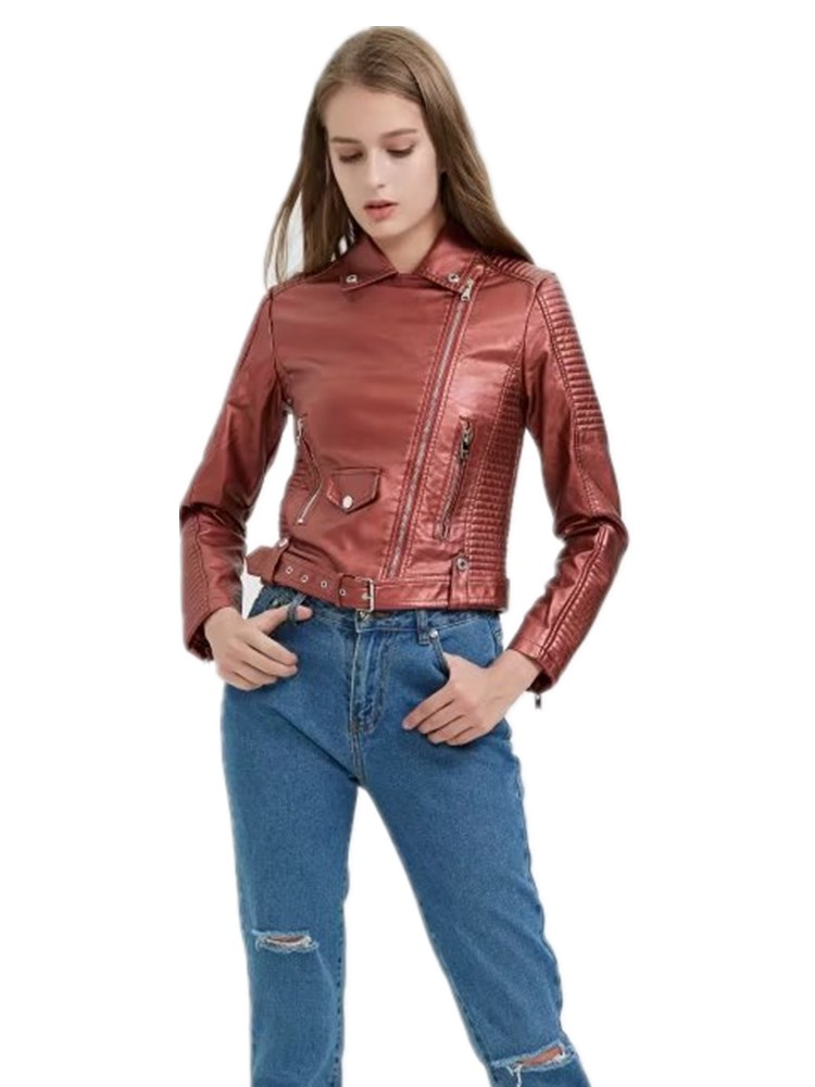 2019 spring fashion brand Dangling pu   leather   jacket female great quality motorcar style street   leather   jacket with belt wq1041