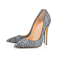 Hot Sale Thin High Heels Woman Sexy Pointed Toe Pumps Grey Snakeskin Lady Party Heeled Dress Shoes Pumps Shoes TL-A0109 hot artist latest pink color italian shoes and bags to match 2018 hot sale nigerian pumps shoes and bag set for party tx 64