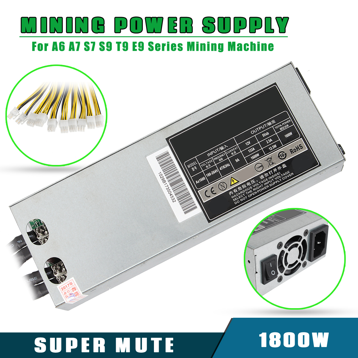 S SKYEE 1800W Power Supply For A6 A7 S7 S9 T9 E9 Series Mining Machine Computer Mining Power Supply With Cable For Miner Mining стайлер remington ci91x1
