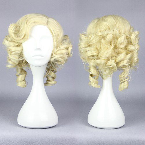 MCOSER Hot Cosplay Cinderella Fairy Godmother 30cm Golden Curly Cute Party Lolita Full Wig