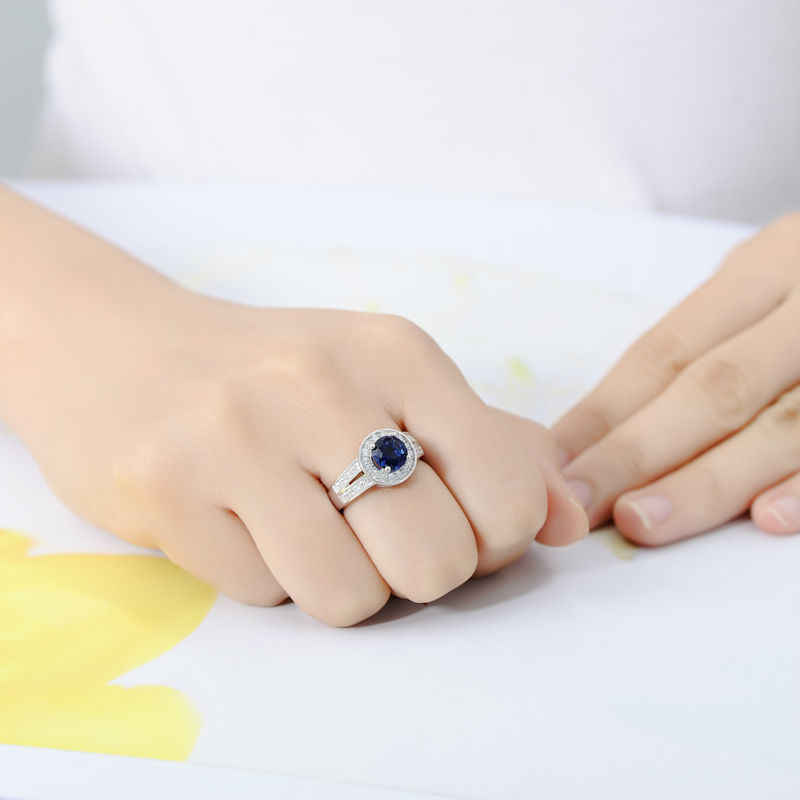 SANTUZZA Silver Rings for Woman Engagement Wedding Ring Round Blue Cubic Zirconia Rings Pure 925 Sterling Silver Fashion Jewelry