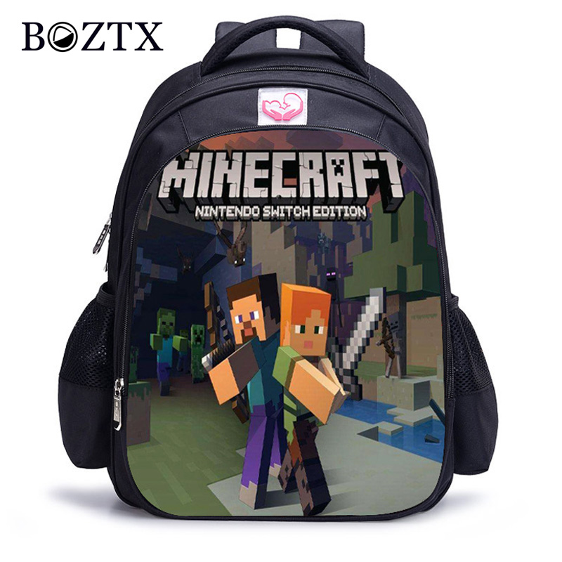 Children Minecraft Cartoon Backpack Boy Cartoon School Bags Hot Primary Backpack School Bags For Boys And Girl Mochila Sac A Dos
