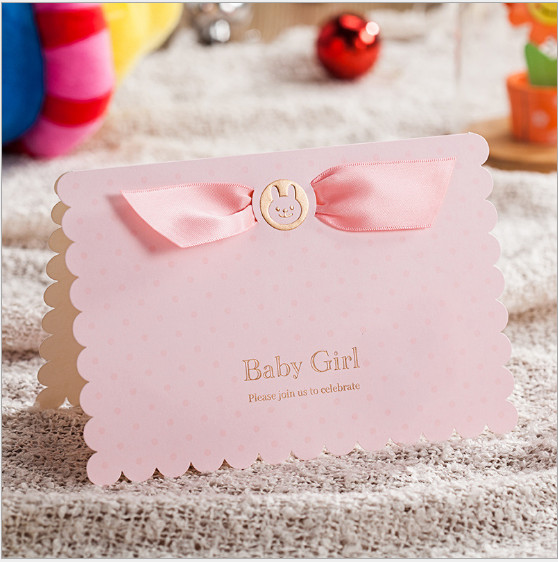 20set Lot Cute Pink Baby Girl Invitation Kids Birthday Handmade