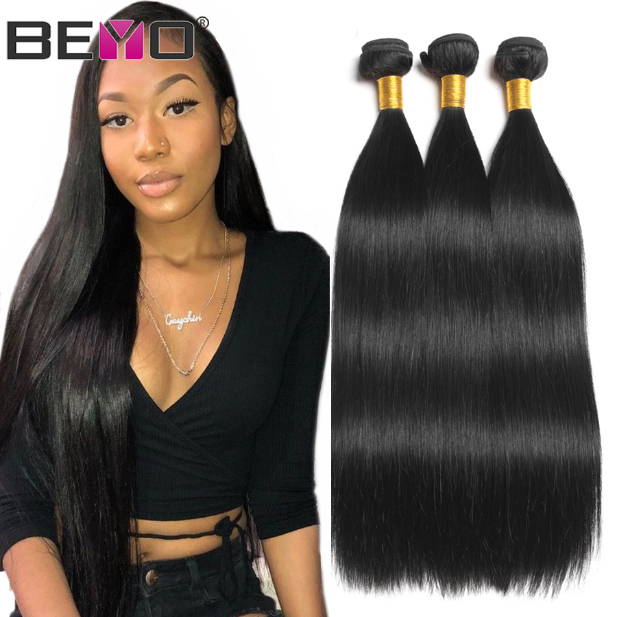 Beyo Straight Hair Bundles 100% Human Hair Bundles Non-Remy Hair Extensions 1/3 / 4 Bundle Deals 8-28 Inch Indian Hair Bundles