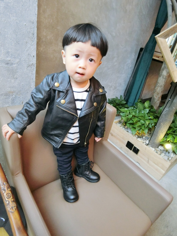 Wind PU Leather Leather Coat Baby Boys and Girls Short Children Jacket 21