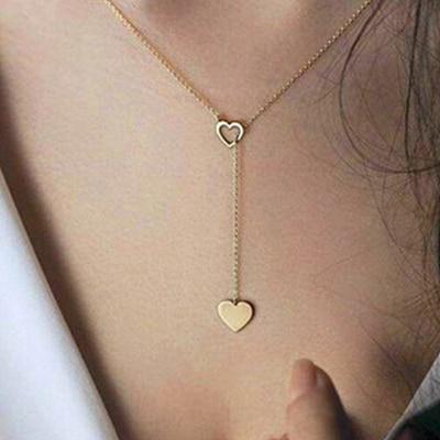 H26 Новая мода сердце лист луна кулон ожерелье из хрусталя женские праздничные пляжные массивные ювелирные изделия - Окраска металла: x92-Gold