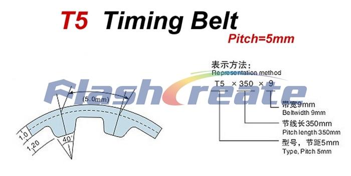 T5-390-12 T5 Precision PU Timing Belt 390mm Long x 12mm Wide
