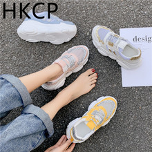 HKCP Thick-soled shoes female 2019 new Korean version of the wild student daddy mesh running sports shoes running shoes C448 running wild running wild the rivalry