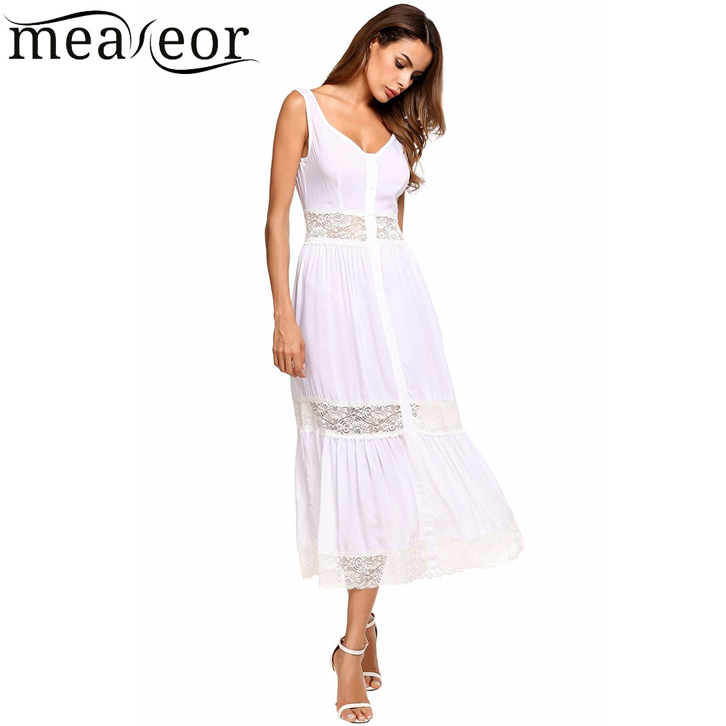 Meaneor Lace Patchwork Maxi Sundress Women Buttoned Front Fit and Flare Slim Dresses Solid Full Length Summer Dress Vestidos