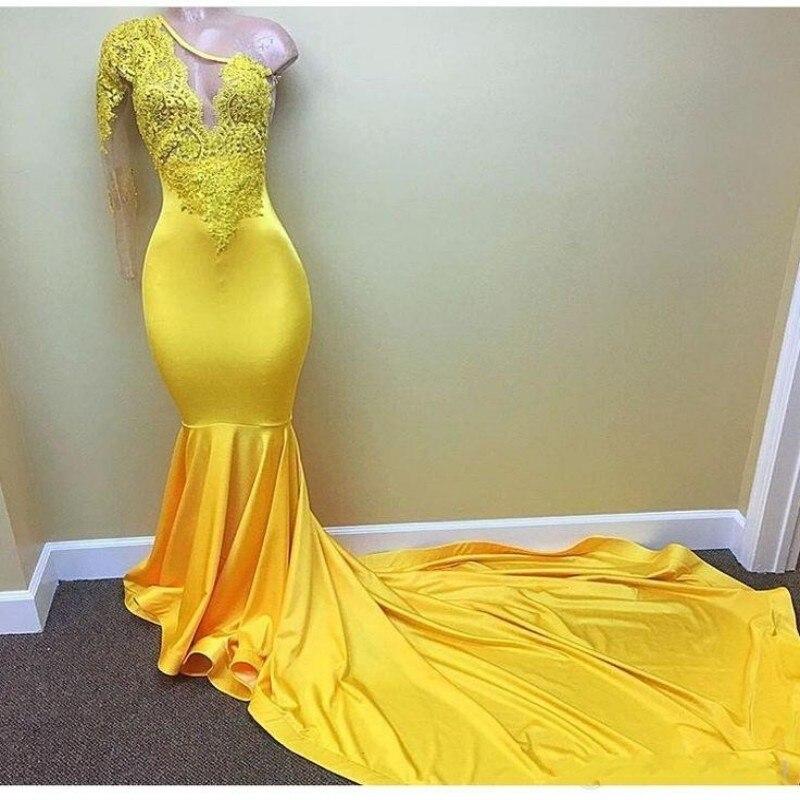Желтый одно плечо одежда с длинным рукавом Русалка платья для выпускного вечера 2018 для африканского черного для девочек с кружевом из бисер